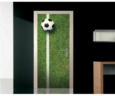 Наклейка на дверь Мяч на футбольном поле