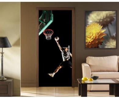 Наклейка на дверь Прыжок баскетболиста