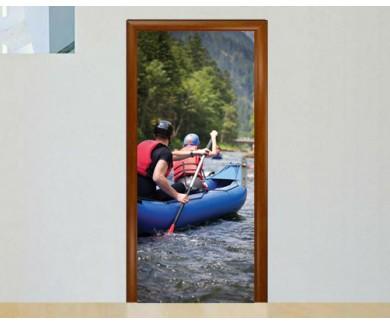 Наклейка на дверь Рафтинг по горной реке