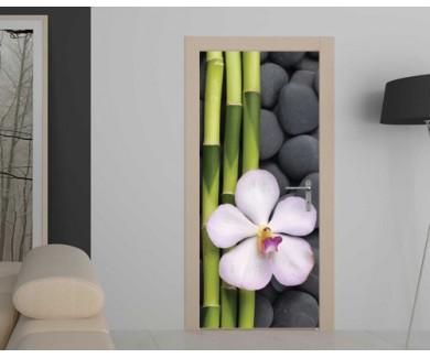 Наклейка на дверь Белая орхидея и бамбуковые стебли