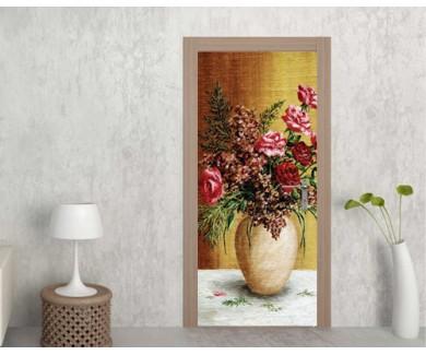 Наклейка на дверь Букет роз, в белом горшке