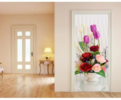 Наклейка на дверь Букет цветов в красных тонах