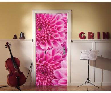 Наклейка на дверь Пурпурные цветы