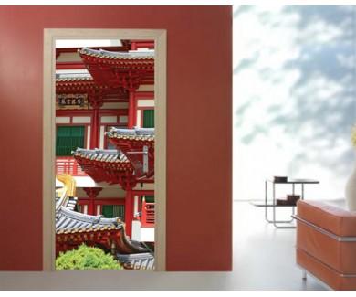 Наклейка на дверь Буддистский храм в Чайна Тауне, Сингапур 2