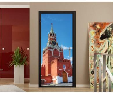 Наклейка на дверь Спасская башня на Красной Площади