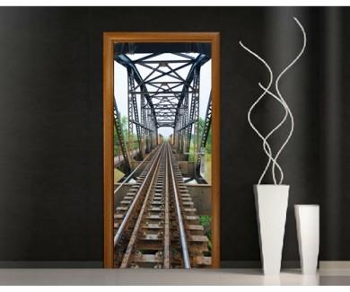 Наклейка на дверь Железнодорожный мост
