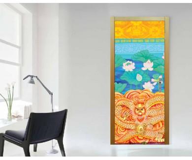 Наклейка на дверь Живопись в китайском стиле