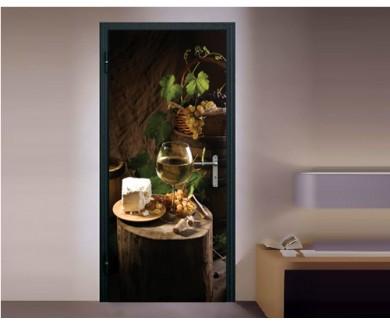 Наклейка на дверь Натюрморт винная идилия
