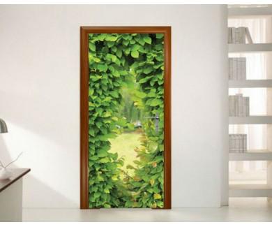 Наклейка на дверь Окно сделанное из листьев
