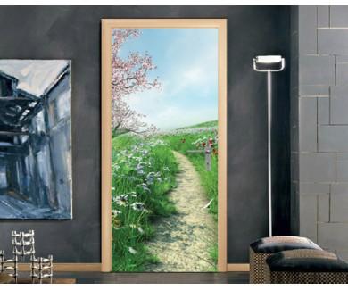 Наклейка на дверь Весенний пейзаж у реки