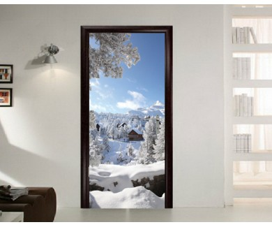 Наклейка на дверь Зимний пейзаж
