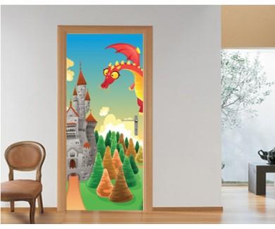 Наклейка на дверь Дракон и замок