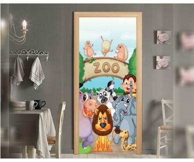 Наклейка на дверь Животные в зоопарке