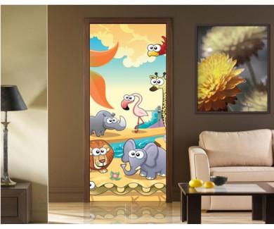Наклейка на дверь Животные в саванне