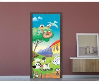 Наклейка на дверь Животные на ферме