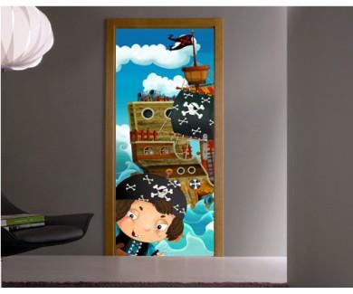 Наклейка на дверь Пираты и корабли