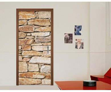 Наклейка на дверь Каменная стена