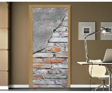 Наклейка на дверь Кирпичная стена