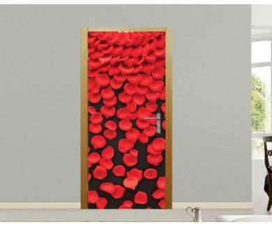 Наклейка на дверь Лепестки роз на чёрном фоне