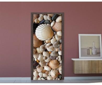 Наклейка на дверь Морские ракушки и камни