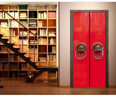 Наклейка на дверь Красная китайская дверь