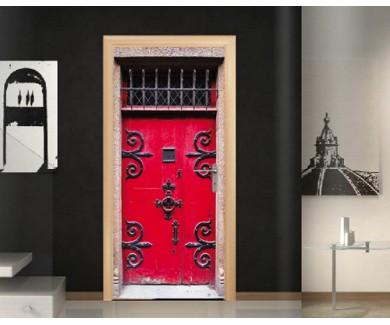 Наклейка на дверь Красная средневековая дверь аббадства