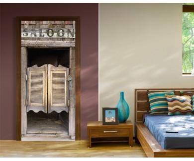 Наклейка на дверь Старая дверь в салун