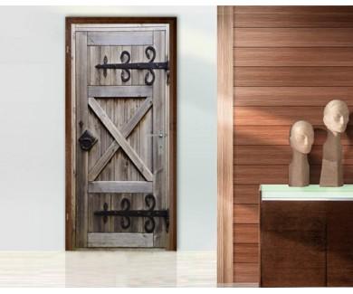 Наклейка на дверь Старинная деревянная дверь