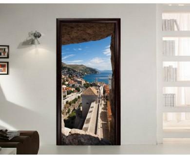 Наклейка на дверь Вид из башни на город, Хорватия