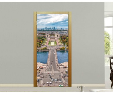 Наклейка на дверь Вид на Париж с Эйфелевой башни