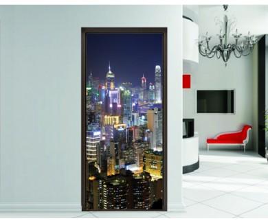 Наклейка на дверь Гонконг ночью