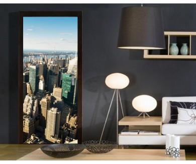 Наклейка на дверь Панорама города Нью-Йорк