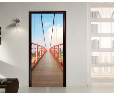 Наклейка на дверь Деревянный мост