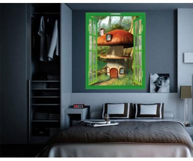 Наклейка на стену Дом-гриб в заколдованном лесу