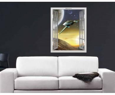 Наклейка на стену Космический корабль вдали от Земли