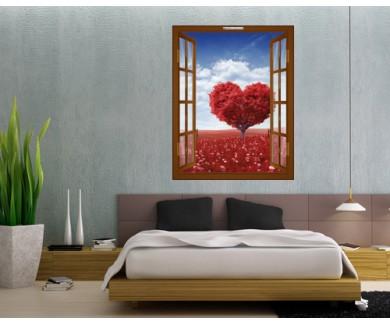 Наклейка на стену Красное дерево в форме сердца