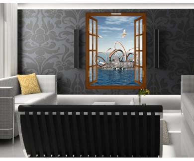 Наклейка на стену Подводная лодка с осьминогом и динозаврами