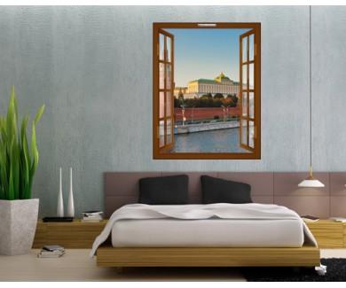 Наклейка на стену Московский Кремль, на закате