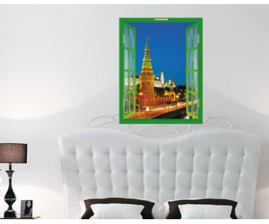 Наклейка на стену Панорамный обзор Москвы в ночное время