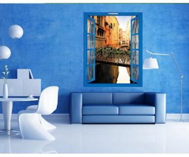 Наклейка на стену Прекрасный мост над каналом в Венеции