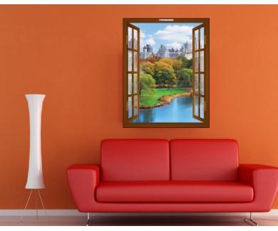 Наклейка на стену Центральный парк Нью Йорка. Осенняя панорама
