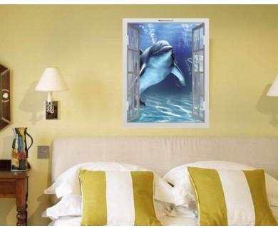 Наклейка на стену Два счастливых дельфина