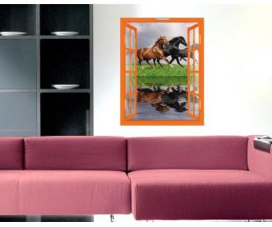 Наклейка на стену Лошади, бегущие галопом