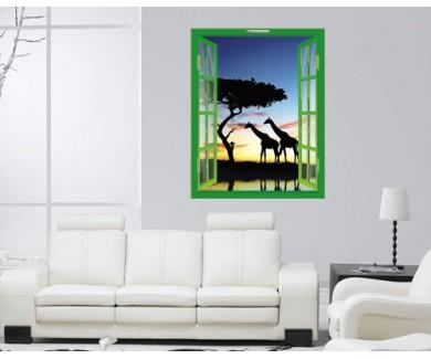 Наклейка на стену Сафари в Африке. Силуэты диких животных