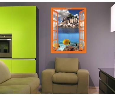 Наклейка на стену Тропический рай и кораллы на вершине рифа