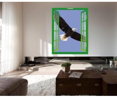Наклейка на стену Белоголовый орлан в полёте