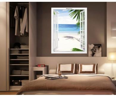 Наклейка на стену Вид на красивый тропический пляж