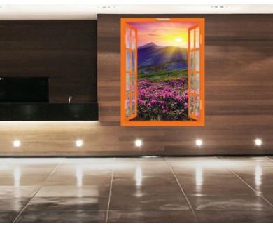 Наклейка на стену Волшебные розовые родендроны на горном лугу