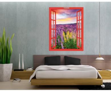 Наклейка на стену Закат в цветочном поле