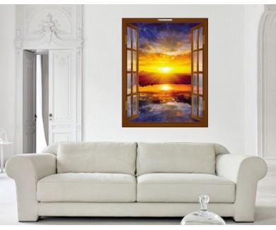 Наклейка на стену Заход солнца над озером